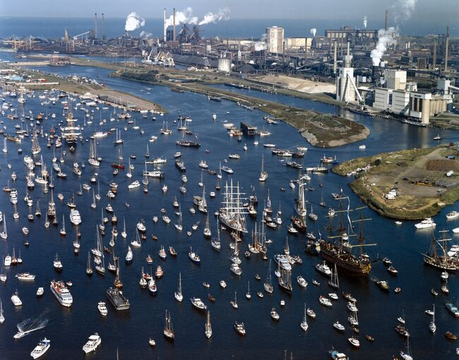 Aerial view of a harbour with a multitude of yachts and other sailing vessels