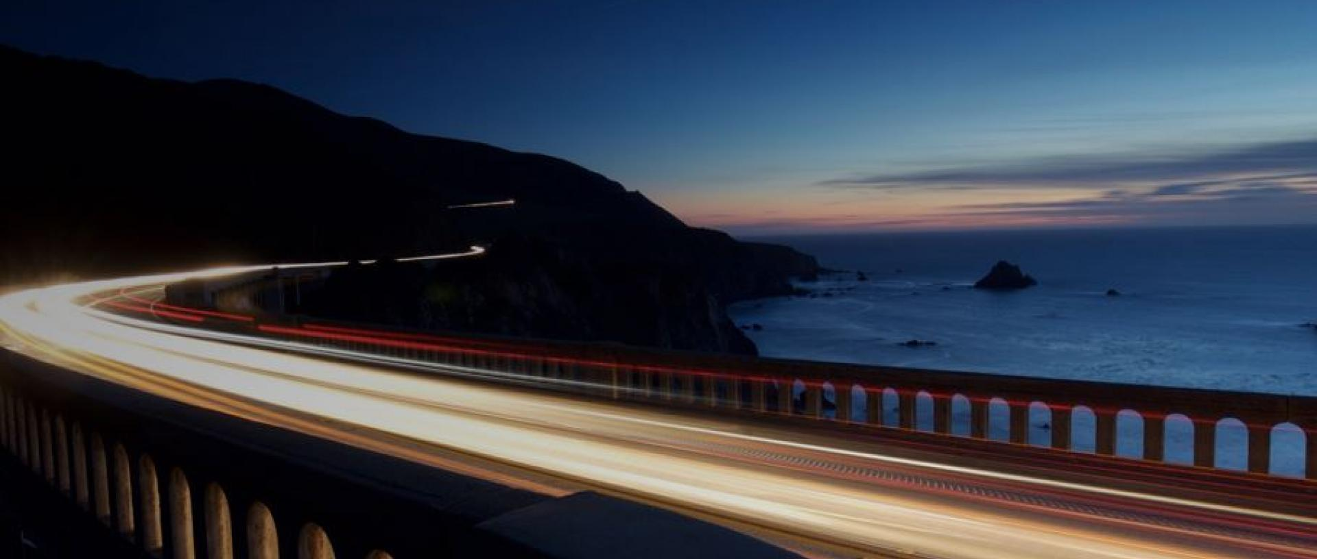 The speed of light on a road by the ocean
