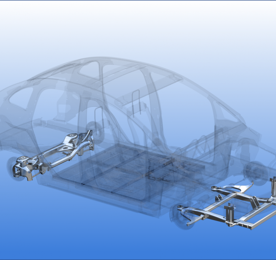 Chassis and suspension parts in situ in a 3D drawing of a car frame