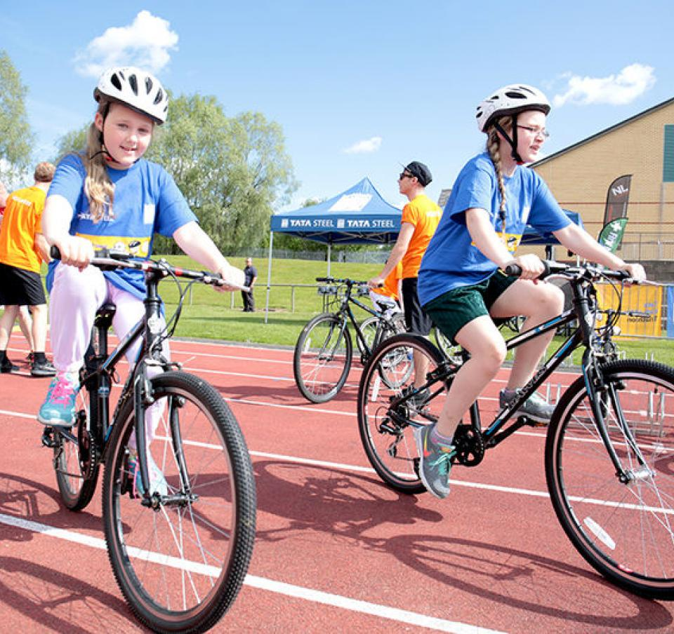 Cycling event at the Tata Kids of Steel triathlon